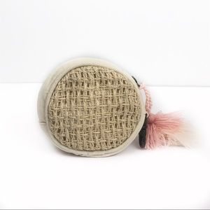 Free People Cream Jute Woven Coin Pouch